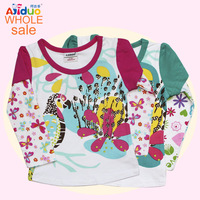 Free shipping new arrivel ajiduo kids girl autumn long-sleeve for girl shirt cute embroidered girls clothing 6pcs/lot baby wear