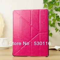 Hot Sale 4 Shapes Leather Case for ipad 3/4/2 Smart Cover with Stand Magnetic slim, Anti-skid Rubber+ utrathin design + 9 colors