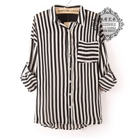 Women's autumn stripe patchwork chiffon shirt female loose chiffon shirt female fashion