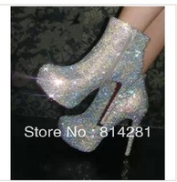 Free Shipping Luxurious Rhinestone Mid Calf Women High Heel Boots