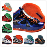 Free Shipping New Arrival LeBron 10 Basketball Shoes Genuine Quality Brand Athletic Men's X ELITE Outdoor Training Sports Shoes