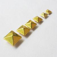 100pcs/bag square rivet pyramid rivets gold color 6mm 7mm 8mm 9mm 10mm 12mm