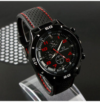 New 2013  Racing Watch ,Clock Men Black Round Dial Black Silicone Quartz Watch,popular hot sale  155