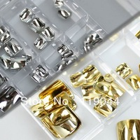 Free shipping 2x100PCS/Set Gold & Silver Imitation Metal Artificial Toenail False Toe Nails Tip With Box