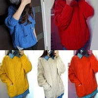 Womens Vintage Cute Cable Knitted Pullover Jumper Outwear Cardigan Pocket Tod