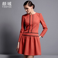 Novelty Women's autumn 2013 elegant intellectuality ol elegant pure colorant match slim long-sleeve dress  long sleeve plus size