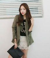Women black Dongguk door autumn new  fashion casual frock slim fit windbreaker jacket