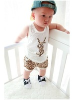 new arrived 100% cotton children's set Summer wear leopard print letters vest+pants cute boys and girls suits free shippijng