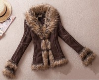 XS-XXL Autumn Winter New Plus Size European Style Super Retro FUR ONE Jacket Rabbit Fur Collar Slim Leather Jacket Free