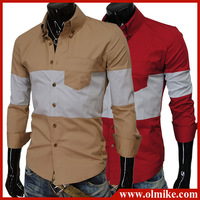 2013 Fall New Men's Slim Luxury Stylish Dress Shirts, Fashionable Casual long-sleeved Button-down Shirt for Men Asia S-XXL D007