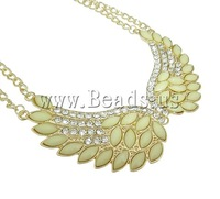 Free shipping!!!Zinc Alloy Jewelry Necklace,2013, with Iron & Acrylic, zinc alloy lobster clasp, Wing Shape, gold color plated