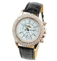 Min.order is 1pcs (mix order)  Crystal disk wrist watch fashion belt - 64021