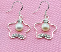 925 Silver Hook Cultured Pearl Earrings Drop Earrings Wedding Bridal Flower Earrings Fresh Water Fashion Jewelry for Charm Women