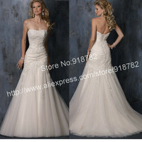Best Selling Cheap New Design Fashion Strapless Appliques Bandage Mermaid Wedding Dresses 2013 Free Shipping