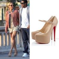 Fashion 2014 14cm high-heeled platform shoes nude color platform red sole high-heeled female pumps
