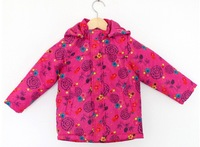 Hot sale 2013 baby girls floral cotton-padded clothes kids hot pink hoodies coat toddlers zipper warm outwear free shipping