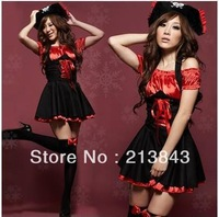 1 Set Pirate Demon Costume For Halloween Cosplay Queen Suit Party Temptation Christmas Costume Set Free Shipping With Hat Dress