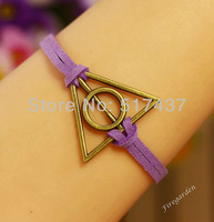 Free Shipping 6 Pcs  harry potter Bracelet Deathly Hallows antique bronze leather Bracelet
