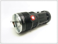 Super Bright 5000 Lumen 4xCREE XM-L L2 LED Flashlight Lamp High Power   Torch For Camping KING-black(UniqueFire UF-V10-4)~