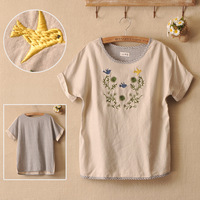 2013 embroidery embroidered fluid short-sleeve round neck T-shirt the back stripe loose t-shirt women's