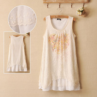 Lace patchwork chiffon tank dress cotton lining irregular sweep 2013 summer one-piece dress