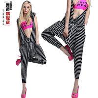 Hiphop hip-hop stripe big crotch pants loose female thin casual harem pants jazz dance sports pants  Free shipping
