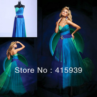 Free shipping real sample a line sweetheart floor length long chiffon beaded prom dress 2013 WH283