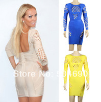 Free Shipping HL Blue,Apricot,Yellow Hollow Out Perspective Full Sleeve Blackless Bandage Evening Dresses Cocktail Party Dresses
