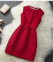 Free Shipping  High Quality Plus Size European Star Style Elegant High Quality Rhinestone Decorated Sleeveless Lady Dress