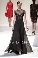 Free Shipping Hot Sale  European Star Style High Quality Elegant Best-selling Lace Sleeveless  Long Chiffon Dress Black/White