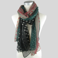 2013 New Style Three Colors Dots Together Fashion Scarf Colorful Popular Women's Lovely Shawl,100*180,50pcs/lot Wholesale