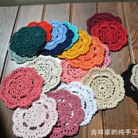 Free shipping 2014 new arrival 30 pic/lot 23 colors 10 cm round chochet hook made coasters zakka vintage props cotton felt mat