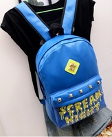 new casual PU backpack bag rivet fashion color neon Drop the letter color school mountaineering bag