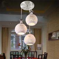 Pendant lamp brief three head hanging lamp ceramic pendant lamp modern dining room lamp pendant light glass led bulb