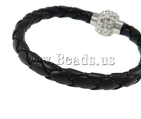 Free shipping!!!Leather Cord Bracelet,2013 Womens, with Clay, with rhinestone, black, 19x15mm, Length:Approx 7.5 Inch