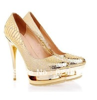 Fashion gold glitter wedding shoes 2012 hot sell
