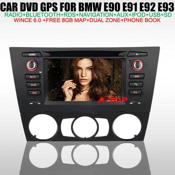 "6.2"" Car DVD Player for BMW 3 Series E90 E91 E92 E93 build in GPS Navigation TV IPOD Radio Bluetooth Phone Book USB Free 8GB Map"