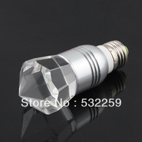 E27 Crystal Glass Diamond 16 Color Change RGB 3W LED Light Bulb Lamp w/Remote Control  Free Shipping