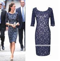 OISK Wholesale Bridesmaid Dressses 3/4 Sleeves Princess Kate's Canada-Visiting Blue Suit Work Dress Career Pencil Knee-Length