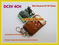 DC3V 3.7V Mini Remote Switch 4CH 2A RF Wireless Remote Switches Input Output 3V Small Volume Receiver + Transmitter 315/433.92