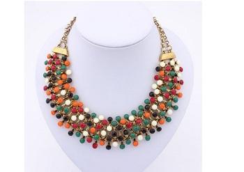 European Style  Elegant Four Layers  Candy Color Dots  Short Chain  Necklace Multicolor