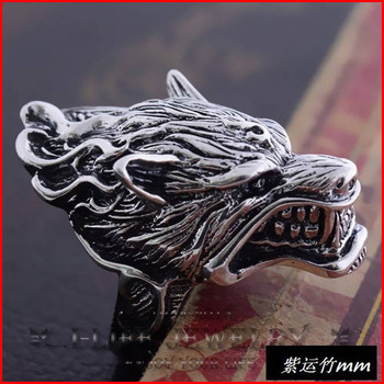 Fashion Jewellery 925 Sterling Silver Retro Antique Domineering Langtou for Hombre With Gems Purity Ring The Band
