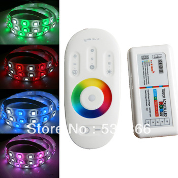 Free Shipping 5M 5050 RGB+W RGBW White 60Leds/M LED Strip Light Waterproof & 2.4G RF Controller Touch Screen Dimmable 12V