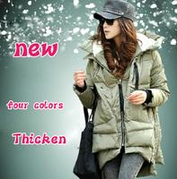 2014 new fashion slim thickening tooling down coat women's medium-long down jacket winter overcoat
