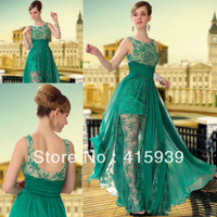 Wholesale sheer green a line beaded see through chiffon and lace evening dress women gown WL202