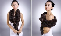 lady genuine rabbit fur scarf  winter sexy shawl with fox fur head drop shipping