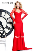 2014 pre-collection mermaid red chiffon backless sexy formal evening dress modest prom dresses with sleeves