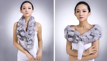 2013 New design Women's winter scarf 100% rabbit  Fur  with mink fox head poncho free shipping