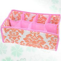 Free shipping 3 pieces/lot Non-Woven Fabric Folding eight grid underwear socks storage box jewelry organizer 8 plaid small boxes