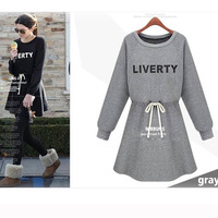 Women'S Autumn Fashion Casual Party Mini Dress Printed Letters Slim Crew Neck Long Sleeve Dress 2 Colors Drop Shipping WF-4955